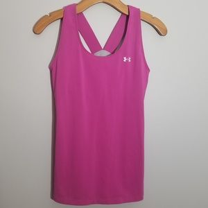 Under Armour S/M fushia racer back tank heat gear
